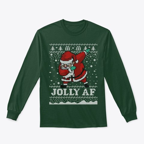 Ugly Christmas Sweater Dabbing Santa Forest Green T-Shirt Front