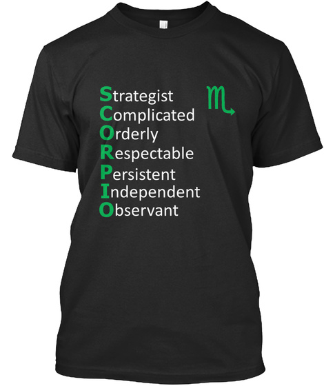 Strategist Complicated Orderly Respectable Persistent Independent Observant M Black T-Shirt Front
