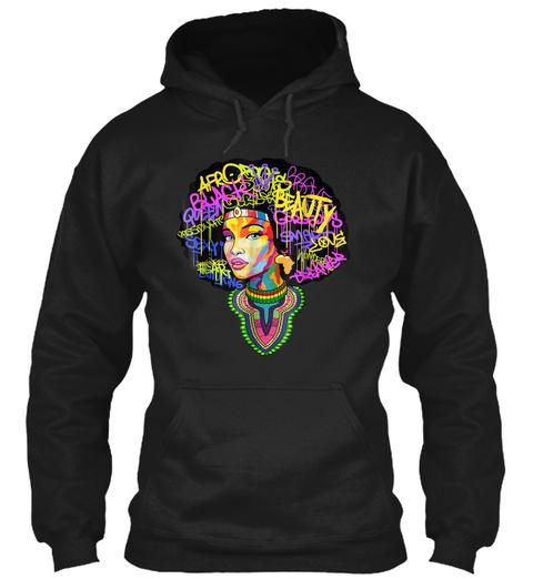 Dashiki Melanin Afro Woman T Shirt Black T-Shirt Front