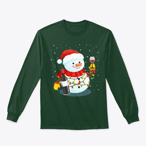 Funny Snowman Drinking Wine Christmas Forest Green T-Shirt Front