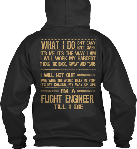 Flight Engineer Jet Black T-Shirt Back