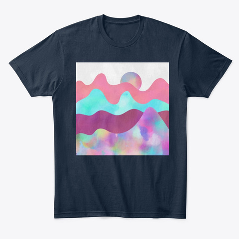 Magic Rainbow Sunset Landscape New Navy T-Shirt Front