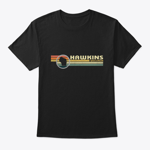 Wisconsin   Vintage 1980 S Style Hawkins, Black T-Shirt Front