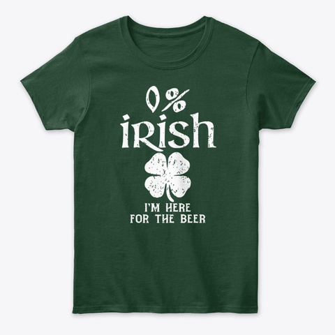 0% Irish Vintage St. Patrick's Day Tee Forest Green T-Shirt Front