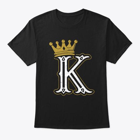 King Crown Playing Card Poker Vintage  Black T-Shirt Front