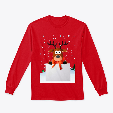 Christmas Reindeer 2019 Red T-Shirt Front