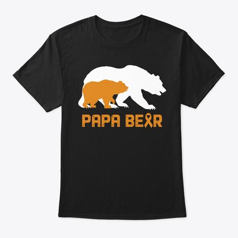Papa Bear   Childhood Cancer Shirt Black T-Shirt Front