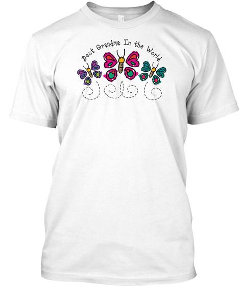 Butterfly Best Grandma White T-Shirt Front