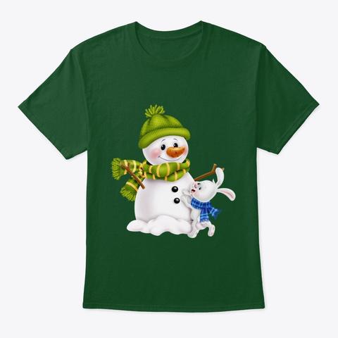 Cute Christmas Snowman Rabbit Sweat,Tee Deep Forest T-Shirt Front