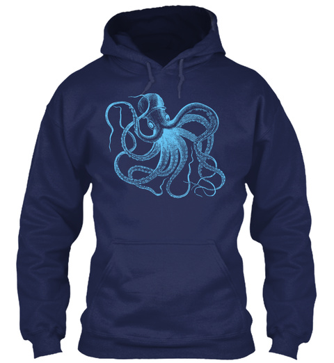 Blue Octopus Hoodie Navy T-Shirt Front