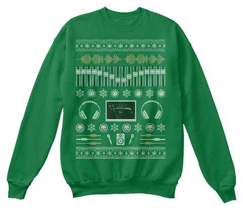 Audio Engineer Ugly Holiday Sweater Kelly Green  T-Shirt Front