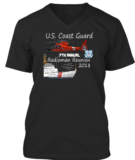 U.S Coast Guars 7th Annual Radioman Reunion 2018 Black T-Shirt Front
