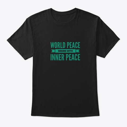 Yoga World Peace Begins With Inner Peace Black T-Shirt Front
