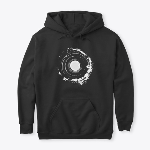 Abstract Circle Moon Design Art Black T-Shirt Front