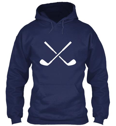 Hoodie Golf Clubs Navy T-Shirt Front