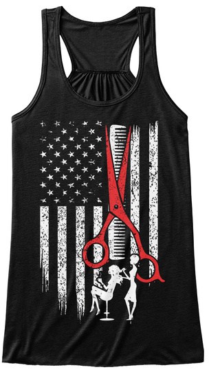 Limited Ed   Hair Stylist Flag Black Women's Tank Top Front