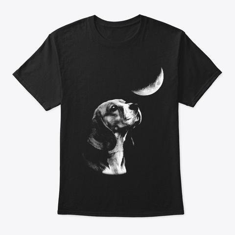 Beagle Moon Black T-Shirt Front
