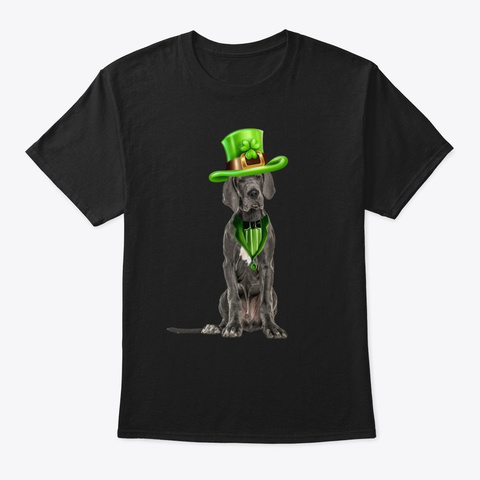 Great Dane St Patricks Day Black T-Shirt Front