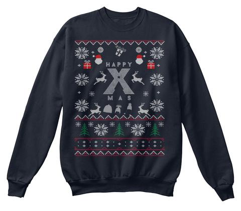 Happy Xmas French Navy Sweatshirt Front