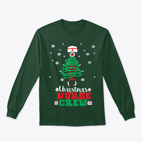 Womens Christmas Nurse Crew Christmas Forest Green T-Shirt Front