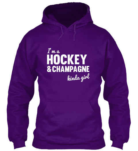 I'm A Hockey & Champagne Kinda Girl Purple áo T-Shirt Front