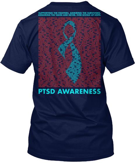 Ptad Awareness Navy T-Shirt Back
