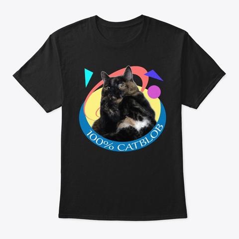 Catblob Retro Black T-Shirt Front
