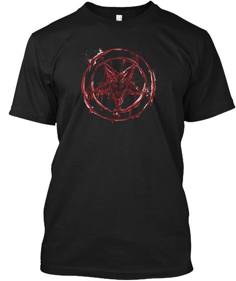 Baphomet Pentagram With Blood Black T-Shirt Front