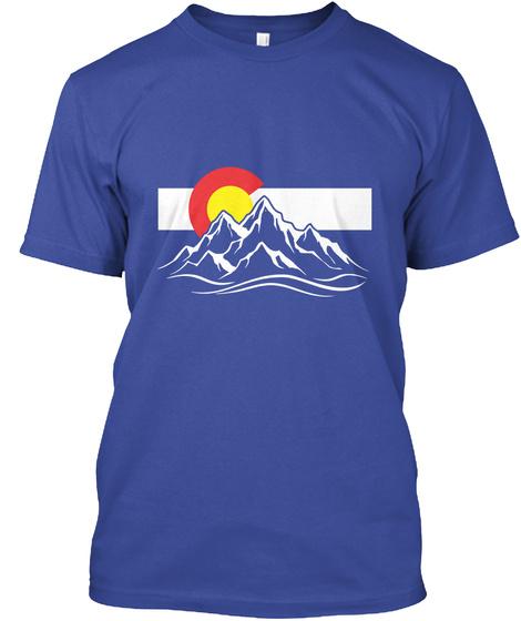 Colorado Flag N Mountain  Deep Royal T-Shirt Front