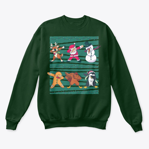 Christmas Dabbing Winter Holiday Deep Forest  T-Shirt Front