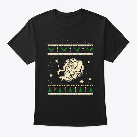 Christmas Scottish Fold Gift Black T-Shirt Front