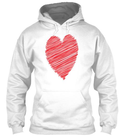 Red Heart Scribble Pop Art White T-Shirt Front