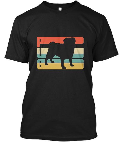 Vintage Pug T Shirt Black T-Shirt Front