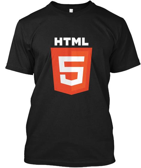 Html 5 Black T-Shirt Front