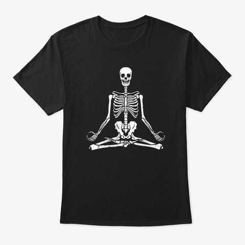 Meditating Skeleton Yoga Funny Halloween Black Camiseta Front