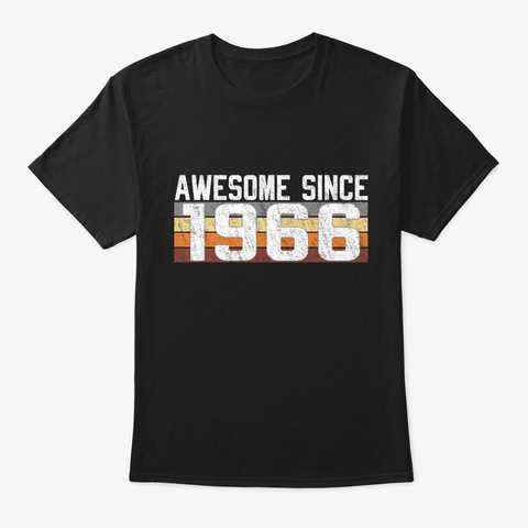 Awesome Since 1966, 53 Years Old  Black T-Shirt Front
