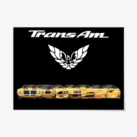 Yellow Trans Am Poster Black T-Shirt Front