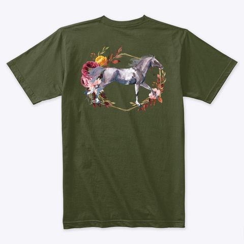 Thanksgiving Horse Military Green T-Shirt Back