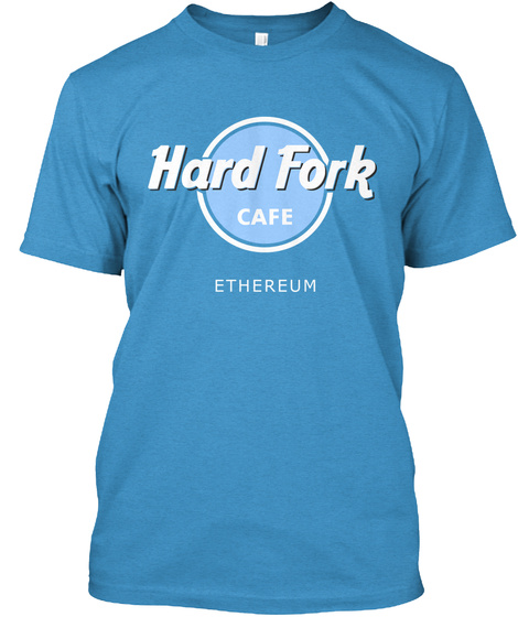 Hard Fork Cafe Ethereum Heathered Bright Turquoise  T-Shirt Front