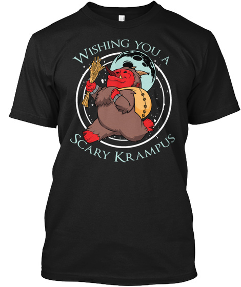 Krampus Christmas Halloween Horror Holid Black T-Shirt Front