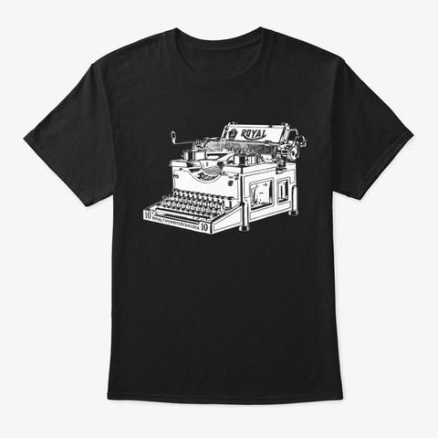 Vintage Typewriter Black T-Shirt Front