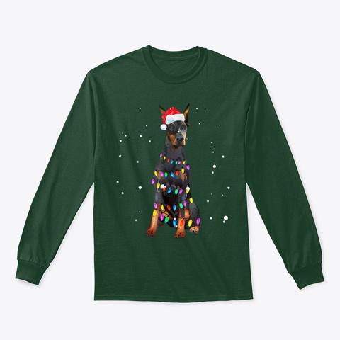 Christmas Lights Doberman T Shirt Gifts Forest Green T-Shirt Front