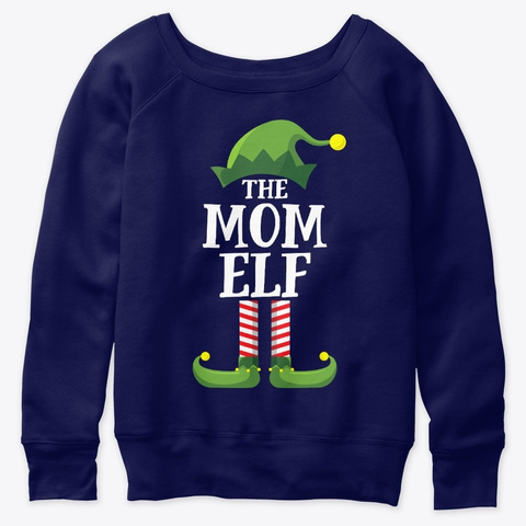 Mom Elf Matching Family Group Christmas Navy  T-Shirt Front