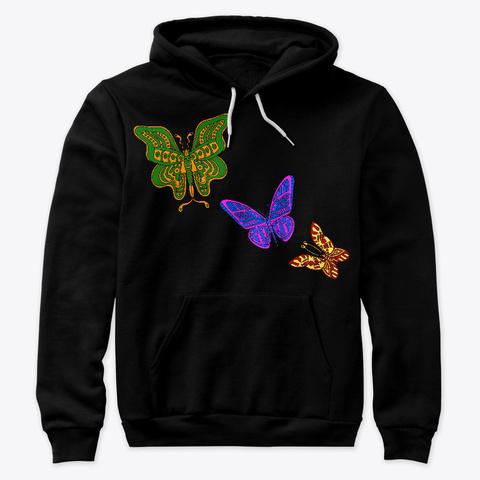 Colourful Butterflies  Black T-Shirt Front