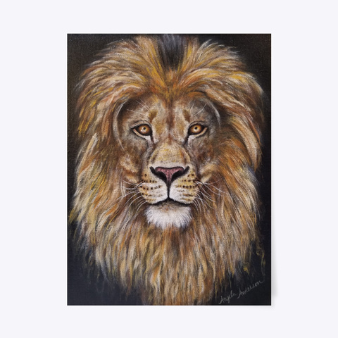 Lion Painting By Angela Anderson Black T-Shirt Front