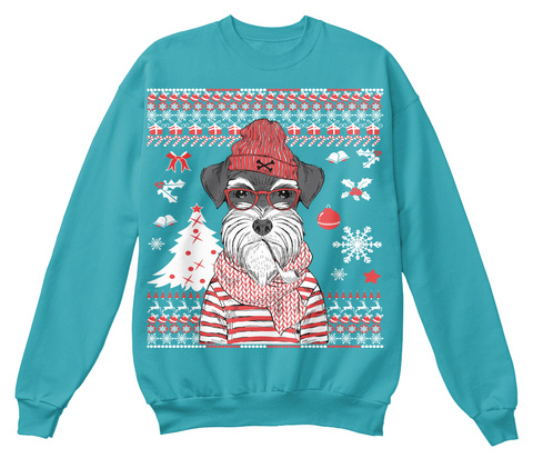 Schnauzer Christmas Sweatshirt Hawaiian Blue T-Shirt Front
