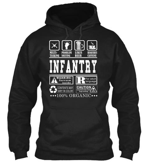Multitasking Problem Solving Likes Beers Requires Caffeine Infantry Warning Sarcasm Inside R For Adult Language... Black Sweatshirt Front