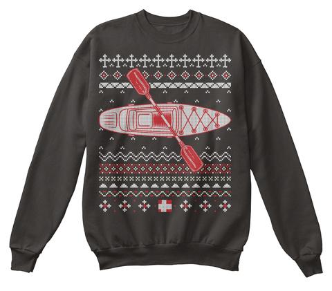 Kayaking Kayak Ugly Christmas Sweater Jet Black T-Shirt Front