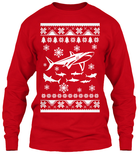 shark christmas ugly sweaters red long sleeve t shirt front - Shark Christmas Sweater