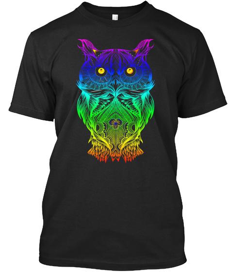 T Shirt Psychedelic Retro Hippie Owl  Black T-Shirt Front